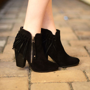 Kenzie Fringe Booties - Black