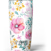 Subtle Watercolor Pink Floral Yeti Rambler Skin Kit