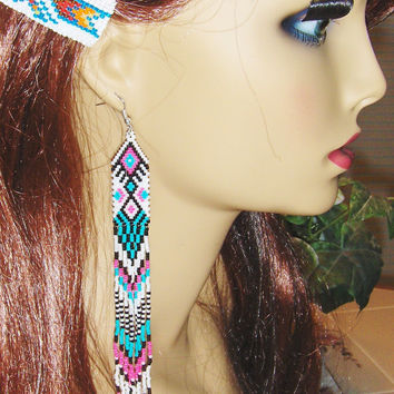 """Extra Long Beaded Dangle Earrings-7"""" long In White, Turquoise, Pink, Black"""