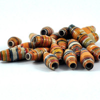 Handmade Paper Beads - Striped Focal Beads - Beading Supply - Pumpkin Orange - Assorted Sizes - Jewellery and Craft Supplies - Set of 4