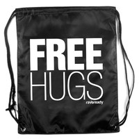 Free Hugs Drawstring Bag : Light Weight Zippered Rave Backpack
