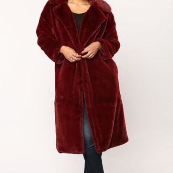Over It Faux Fur Jacket - Burgundy