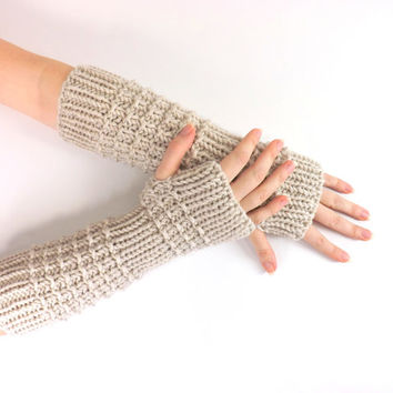 SALE Knitted Arm Warmers /LINEN/, Fingerless Gloves, Knit Mittens, Wrist Warmers, Gift Idea