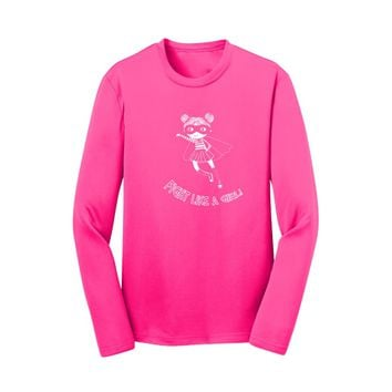 Fight Like a Girl Long Sleeve Performance Tees - Breast Cancer Awareness