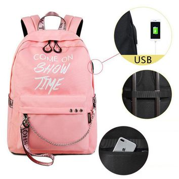 15.6inch Luminous Laptop Backpacks Anti Theft USB Backpack Nylon Travel Backpacks School Bags Waterproof Fashion Colors
