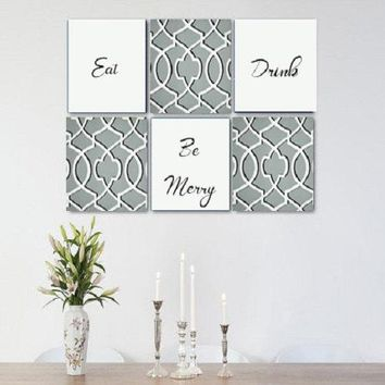 Eat Drink Be Merry Grey White Wall Art Pack of 6 Canvas Wall Hangings. Dining Room Decor. Kitchen Decor. Dining. Home Decor.