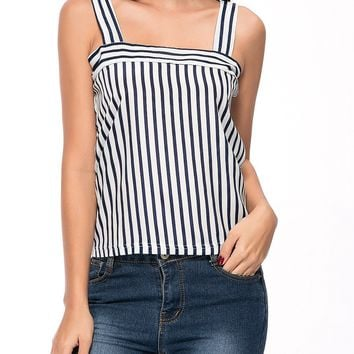 Streetstyle  Casual Square Neck Vertical Striped Sleeveless T-Shirt