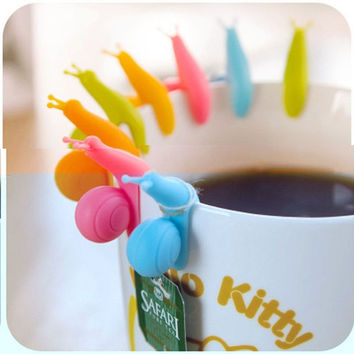 Randome Color!! 5 PCS Cute Snail Shape Silicone Tea Bag Holder Cup Mug Candy Colors Gift Set GOOD (Color: Multicolor) = 1958497668