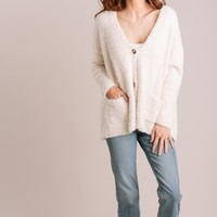 Loraine Fuzzy Button Cardigan