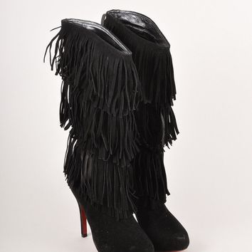 AUGUAU Forever Tina Black Suede Fringe Heeled Boots