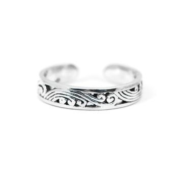 Sterling Silver Antiqued Filigree Design Toe Ring
