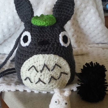 Crochet Totoro Drawstring Bag w/ Chibi Totoro (Tiny White One) and Dust Bunnies