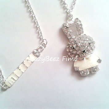 Miffy diamante necklace by buzybeez1 on Etsy