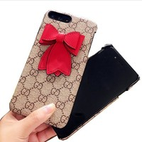 GUCCI bowknot Hard shell iphone 6s protective phone case