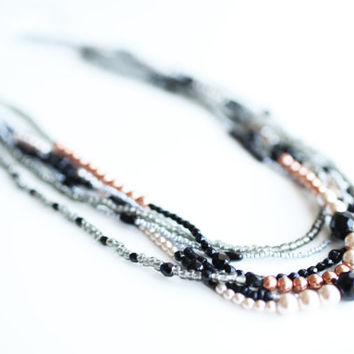 Multiple strands necklace,  black silver, bronze and pearls, small beads different sizes, black, silver, multistrand seed beads