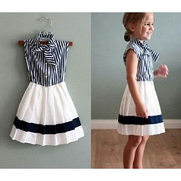 Kids Infant Baby Girls Navy Striped sailor collar Woven Princess Party Dress