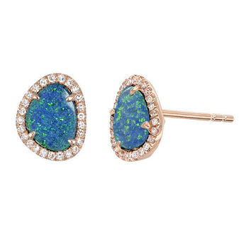 Opal and diamond stud earrings, opal stone studs, 14k solid gold