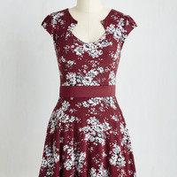 Short Length Cap Sleeves A-line Story of Citrus Dress in Bordeaux Blossom
