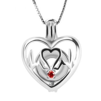 925 Sterling Silver Heartbeat Shaped Pearl Cage Pendant