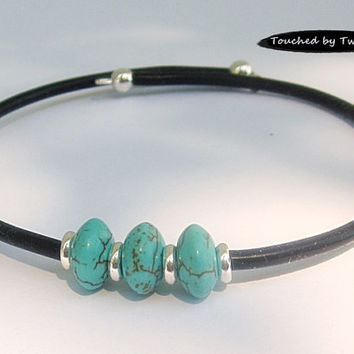 Memory Wire Cuff - Turquoise Magnesite - Rubber Cord Bracelet