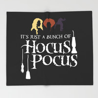 Just a bunch of Hocus Pocus, white on black Throw Blanket by emdavis27
