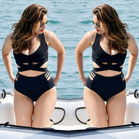 2016 New Womens Sexy Padded Bra Swimwear Swimsuit High Waist Bikini Set Plus Size Swimwear Bathing suit