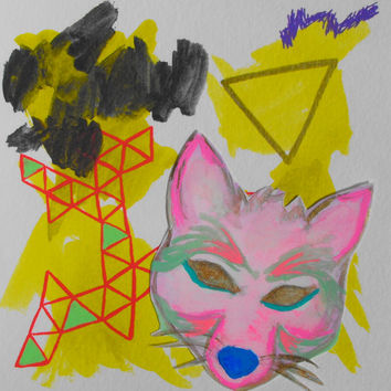 Mixed media, Drawing, Gouache, Fox, Original, Paper, Small, Watercolour, Metallic, Sketch, Pink, Artwork, Teal, Red, Graphite, Geometric