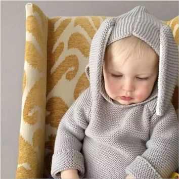 Rabbit Cotton Pullover Hooded Baby Sweater