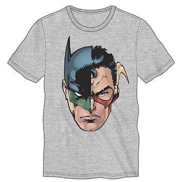 DC Comics Many Superheroes of DC Comics Men's Gray T-Shirt