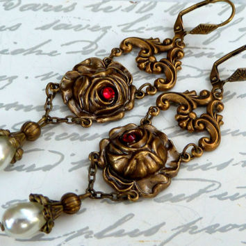 Romantic roses earrings in antique style with beads, bronze earrings, long earrings, flower earrings, nostalgic earrings, baroque