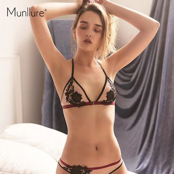 Munllure Front buckle Embroidery Net Yarn Comfortable Ultra-thin Soft Cup Beautiful Back Sexy Lingerie women Underwear bra set