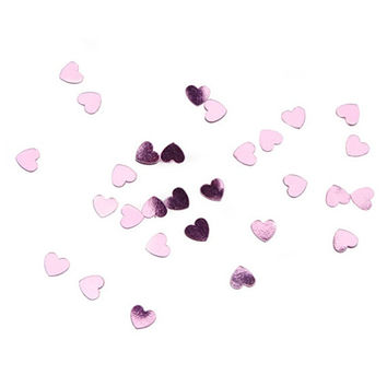 Metallic Pink Wedding Confetti Hearts - 28 Grams