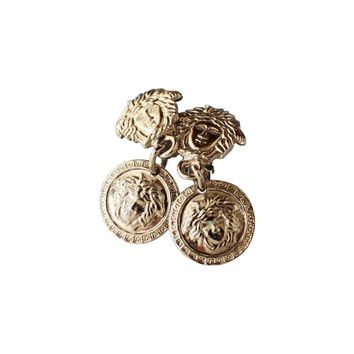 Pre-owned Rare Gianni Versace 90s Silver Medusa Earrings