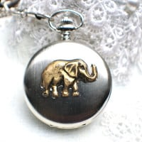 Elephant pocket watch,  Men's elephant pocket watch in silver with black onyx  beads adorning chain