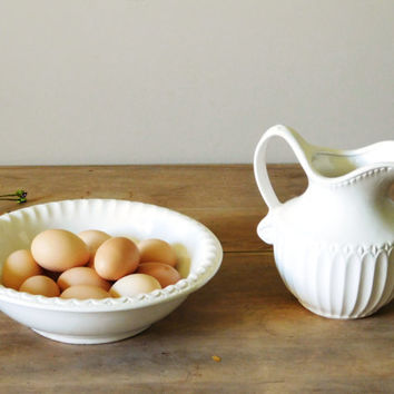 White Ceramic Pitcher, McCoy White Pitcher and Bowl