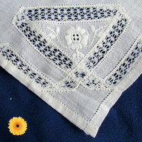 White Cotton Handkerchief Hankie Hanky Cutwork Embroidery Bridal Wedding