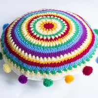 Colorful Crochet Knitted Cushion Decorative Pillow. Pillow with pom pom. Rainbow pillow