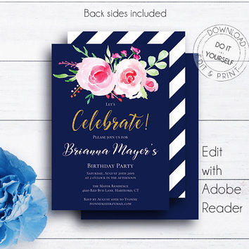 Navy Floral Birthday Invitations, Birthday Party, Adult Birthday, Editable Card, Gold Glitter, Stripes, PDF Templates, Watercolor Invites