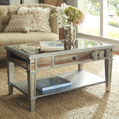 hayworth mirrored coffee table silver from pier 1 imports. Black Bedroom Furniture Sets. Home Design Ideas