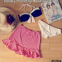 Navy & White with Red/White Striped Ruffled Skirt 3 Piece Swimsuit Set - 3PC504 - Smoky Mountain Boutique