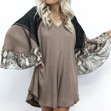 Sweet Places Waffle Knit Snakeskin Sleeve Dress