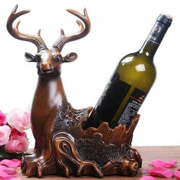 1 PCS Deer head wine rack furnishings home TV cabinet wine cabinet practical wine red wine rack house (without bottle) LU703240