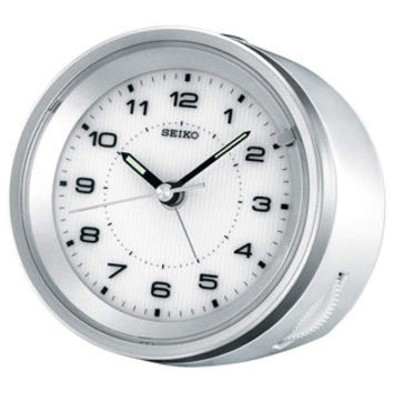Seiko Travel Alarm Clock - White Case - Silver Accents - Quiet Sweep Second Hand