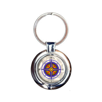 Compass Nautical North South East West Keychain