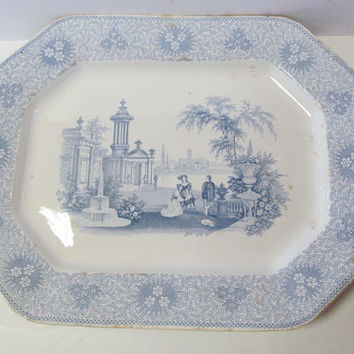 w Adams and sons Large Platter Blue and White Platter Lg Antique Platters Large Serving Platters Antique Farmhouse Blue Transferware Platter
