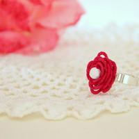 fuchsia and white ring, floral, summer ring, cocktail ring, handmade tatting lace
