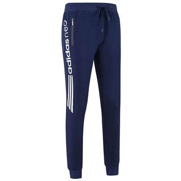 ADIDAS 2018 autumn and winter new men's loose plus velvet casual sweatpants Blue