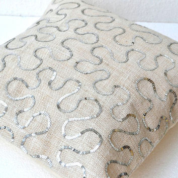 White Burlap Silver Sequins pillow cover  16X16 inches cushion cover