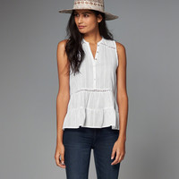 Sleeveless Button-Front Shirt