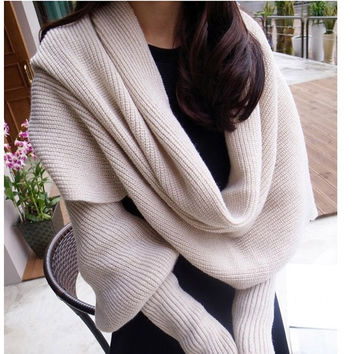 Women's scarves with sleeves scarf Warm wool shawl long sleeves multifunction Scarf